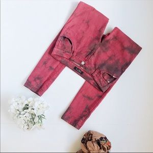 Tie Dye Black & Red Jean